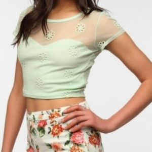 UO Pins and Needles Mint Mesh Floral Crop Top